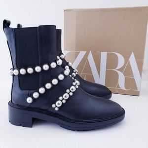 ZARA Leather & Pearl Chunky Ankle Boots Black